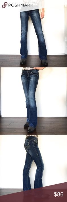 NWOT Rock Revival Sora Boot Cut Jean Size 25 These never before worn Rock Revival Jeans are in perfect condition! Gorgeous rhinestone accents on buttons and pockets with dark to light indigo wash. Very flattering on, wear with your favorite heels or cowboy boots! Rock Revival Pants Boot Cut & Flare