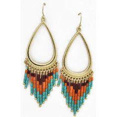 Tribal earrings Gorgeous gold, brown, orange, and blue earrings. Jewelry Earrings