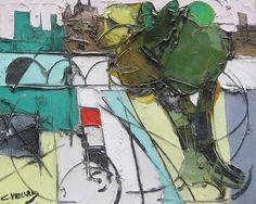 Paris en Vert by Claude Venard Oil on Canvas: 38 x 46 cm Signed