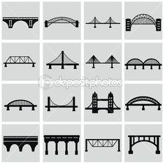 桥梁的图标集 — 图库插图 #50301359 Bridge Icon, Bridge Structure, Bridge Tattoo, Bridge Logo, Eps Vector, Vector Free, Building Illustration, Auction Projects, Pictogram