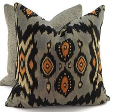 Gray Taupe Tan Orange & Black Ikat Pillow Cover by ThePillowSpot