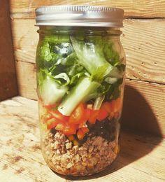 Loving @robzzzzzzz Taco Salad in a mason jar. #foodie