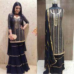 Georgett  sharara suit Pakistani Party Wear Dresses, Designer Party Wear Dresses, Indian Party Wear, Pakistani Dress Design, Bollywood Dress, Sarara Dress, The Dress, Dress Indian Style, Indian Fashion Dresses