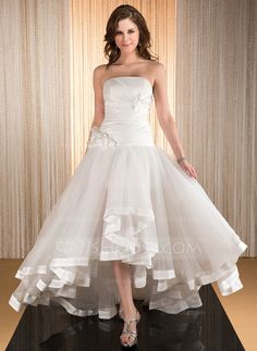 A-Line/Princess Strapless Asymmetrical Taffeta Organza Wedding Dress With Flower(s) Cascading Ruffles (002031886)
