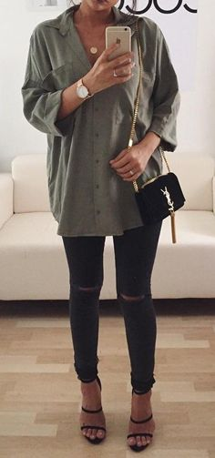 #outfit #ideas · Army Shirt // Destroyed Jeans // Sandal Pumps