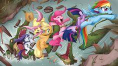My favorite MLP wallpaper. With Rainbow Dash, Twilight Sparkle, Pinke Pie, Apple Jack, Fluttershy, Rarity, and some Gummy's friends. Brilliant mane 6!   by *JinZhan  Source: http://jinzhan.deviantart.com/gallery/15338?offset=0#/d4hehti