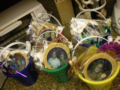 each person gets a personalized bucket. their cookies have pics of them w/ the birthday girl!