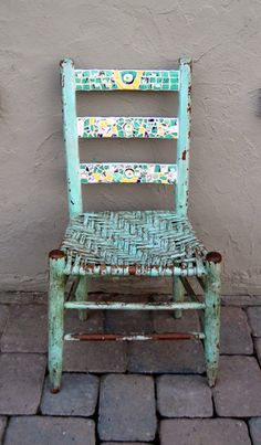 Chippy Blue Mosaic Ladder Back Chair With Rush Seat
