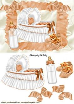 Baby Girls Peach Bassinet With Baby Bottle Clipart Baby, Baby Kind, Pretty Baby, Baby Shower Cards, Baby Cards, New Born Baby Card, Baby Shower Souvenirs, Images Vintage, Baby Clip Art