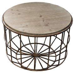Rustic farmhouse style round wood and metal coffee table