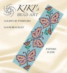 Bead loom pattern Golden butterflies LOOM bracelet pattern in
