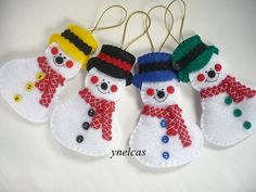 Snowman handmade Christmas ornament  - vintage decoration - set of 4