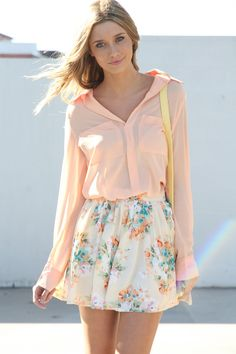 have this outfit but my skirt isnt floral, just tan so ill add a colorful skinny belt to spice it up