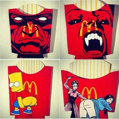 Illustrations on French Fries Packages by Ben Frost. Australian artist Ben Frost is known for his kaleidoscopic Pop Art, mash-up paintings that take inspiration from areas as diverse as graffiti, collage, photorealism and sign-writing. Pablo Picasso, Protest Art, Sign Writing, Illusion Art, Australian Artists, Heart Art, French Artists, Online Art, Art Boards