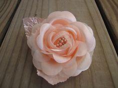 PEACH ROSE flower hair clip by Etsy artist itsashorething
