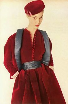 Jean Patchett in Dior Red Velvet Dress and Jacket Vogue 1954