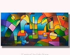 Abstract geometric modern giclee print from my acrylic painting, large wall art, abstract landscape painting, 18x36