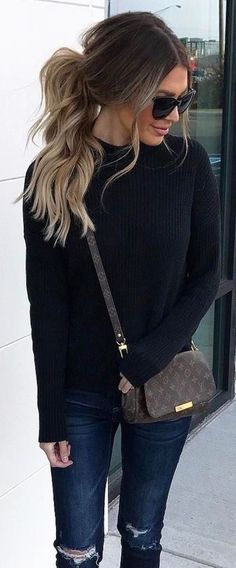 #fall #outfits / black knit