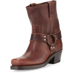 Frye Leather Harness Bootie (1,510 BOB) ❤ liked on Polyvore featuring shoes, boots, ankle booties, ankle boots, brown, cowgirl boots, western ankle boots, square toe cowboy boots and brown ankle boots