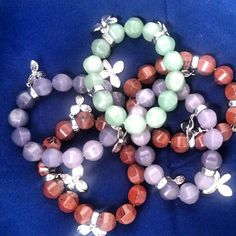 Photo by kristine930  $40 each genuine agate, jade or obsidian with sterling charms