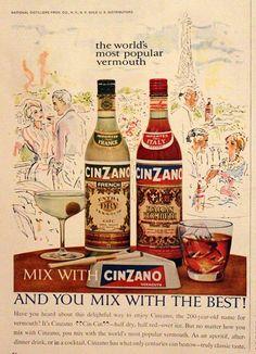 1961 Cinzano Vermouth Ad Vintage Retro by SnowFireCandleCo