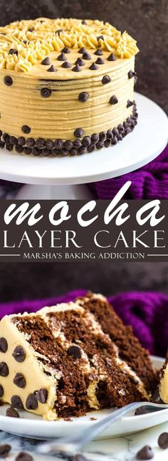 Mocha Layer Cake - Incredibly moist and fluffy chocolate layer cake infused with coffee, and frosted with a sweet coffee flavoured buttercream! Recipe on marshasbakingaddiction.com #chocolatecake #mocha #cake #recipe
