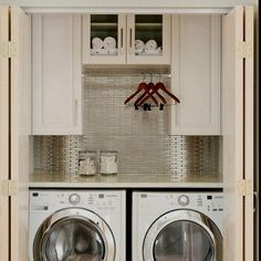 Laundry room organization - counter is a great idea!