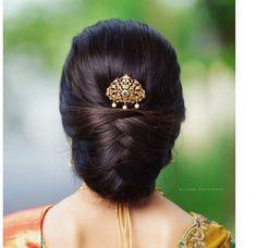Indian Bun Hairstyles, Wedding Ponytail Hairstyles, Saree Hairstyles, Bride Hairstyles, Office Hairstyles, Updo Hairstyle, Hairstyle Ideas, Asian Wedding Hair, Long Hair Wedding Styles