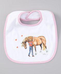 This White & Pink Pony Hug Bib by AWST INTERNATIONAL is perfect! #zulilyfinds