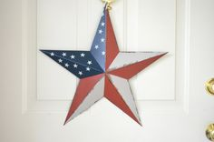 Red White and Blue Americana Barn Star  18 five point