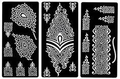 Amazing Zaffron Henna Mehendi Mehndi Stencil Sheets for Eid Ramadan Mehendi Raat or Wedding Parties (Design Pack 1, Set of 6 Sheets)