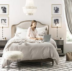 The Orly Stool ($299), seen here in white faux fur, adds interest to any room.  Image Source: Restoration ...