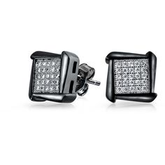 Bling Jewelry Bling Jewelry Mens Silver Micro Pave Stud Earrings Black... ($24) ❤ liked on Polyvore featuring men's fashion, men's accessories and black