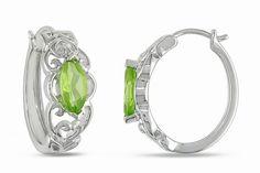 Peridot Silver Creole Hoop Earrings