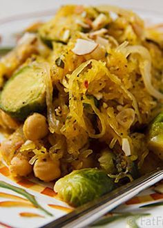 Spaghetti Squash with Roasted Brussels Sprouts and Chickpeas! Great dish love the flavor of the brussels sprouts   fat free vegan – More at http://www.GlobeTransformer.org