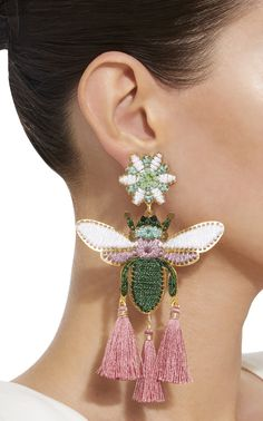 Get inspired and discover Mercedes Salazar trunkshow! Shop the latest Mercedes Salazar collection at Moda Operandi. Beaded Earrings, Clip On Earrings, Earrings Handmade, Textile Jewelry, Fabric Jewelry, Insect Jewelry, Spiritual Jewelry, Handmade Jewelry Designs, Contemporary Jewellery