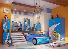 Boys bedroom design visualization