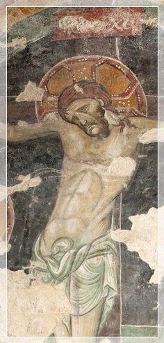 Giunta Pisano (Giunta Capitini, detto) - Il Cristo della Crocifissione - affresco - Cripta di San Colombano a Bologna