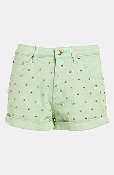 "Your closet needs these: ""cheeky stud"" high waist studded shorts."