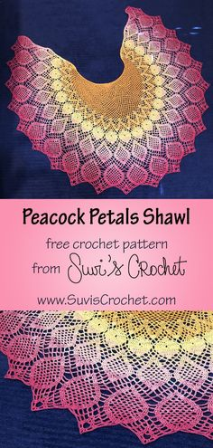 Free crochet pattern with both written and charted instructions.   This shawl was designed to look like a flower with its expanding petals, inspired by a beautiful gradient yarn that goes from orange to pink. In the end, I think the 'petals' came out looking a lot more like peacock feathers. So here is the Peacock Petals Shawl. The shape of the shawl is designed to sit nicely on the shoulders without falling off or bunching up. Crochet Shawl Diagram, Filet Crochet, Knit Crochet, Shawl Patterns, Crochet Stitches Patterns, Blanket Patterns, Stitch Patterns, Crochet Feather, Crochet Flowers