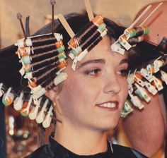 Who remembers this? does😊 ・・・ Flashback to way back in 1988 demonstrating for Schwarzkopf – one of my first educational classes .Please note the skewer is not coming out of her neck 😂😂 Sharon Blain, French Pleat, Wet Set, Perm Rods, Permed Hairstyles, Curlers, Skewers, Perms, Bobby Pins