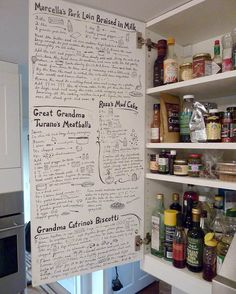 notes & favorite recipes on the inside of a kitchen cabinet!