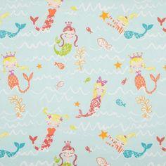 Mermaid Curtain Fabric - Aqua
