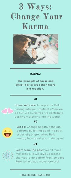 Regretting your last mistake? Karma refers to the principle of cause and effect. For every action there is a reaction. Here's how you can change your karma in an instant...  karma | reiki healing | positive thinking | positive mindset | energy healing | raise vibrations | law of attraction | chakra balancing | happiness | spirituality