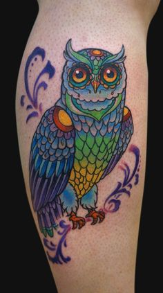 owl tattoos   Jamie Lee Parker - Stained Glass Owl Tattoo - Tattoos and Fine Art