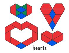 Valentines Pattern Block Designs - Jessica's Pattern Block Mats (Printables)