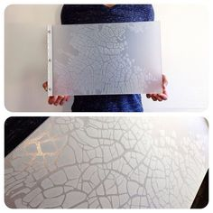 "Custom graphic book portfolio book with ""cracked ice"" engraving look on frosted clear by kloportfolios.com"
