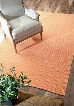 $5 Off when you share! Chalet Herringbone Cotton Flatwoven Orange Rug | Contemporary Rugs #RugsUSA