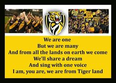 Yellow and Black! Richmond Football Club, Australian Football League, We Are Many, Tiger Face, Juventus Logo, Tigers, Sports, Yellow, Legends
