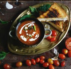 soup with mini grilled cheese croutons my breakfast needed hearty soup ...